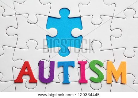 Autism inscription on a white puzzle background