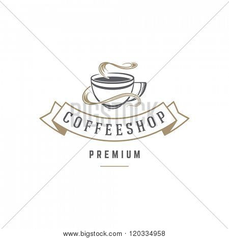 Coffee Shop Logo Template. Coffee Cup or Tea Silhouette Isolated On White Background. Vector object for Labels, Badges, Logos Design. Coffee Logo, Tea Logo, Coffee Cup Silhouette, Retro Logo, Cup Icon