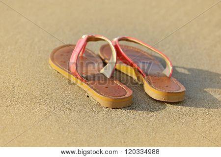 Summer Vacation Concept. Sandals On A Sandy Ocean Beach