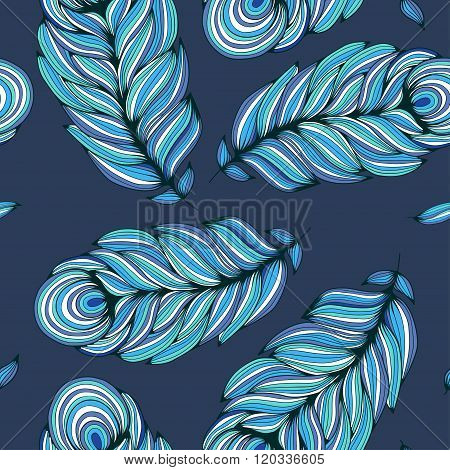 Stylized feather on deep blue background. Seamless pattern. Vector illustration