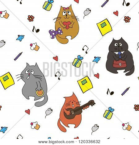 Vector funny cats and hearts seamless hand drawn pattern