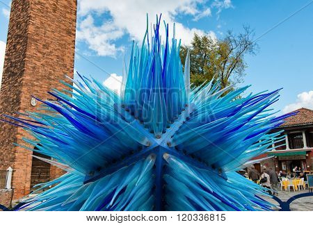 VENICE, ITALY - 17 OCTOBER 2015: Glass artwork of blue star on Murano island in Venice, Italy