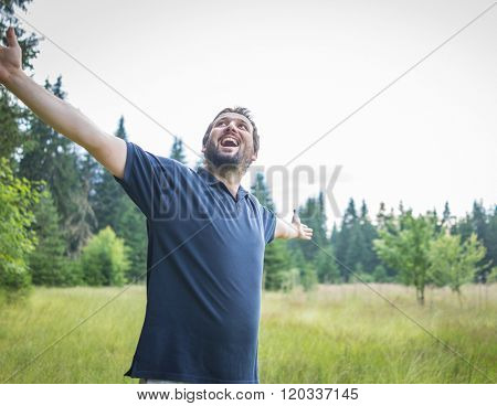 Adult man in nature