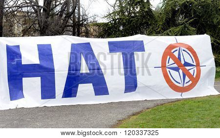 BELGRADE, SERBIA - CIRCA FEBRUARY 2016: European anti-NATO peaceful protest demonstration with posters circa February 2016 in Belgrade