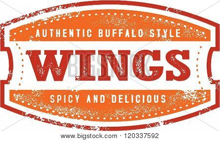 Buffalo Chicken Wings Menu Stamp