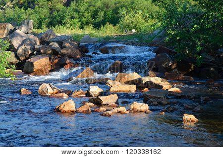 The rapids on the river Kola Peninsula