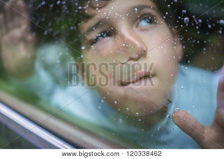 Happy kids travel by the car and making funny grimace