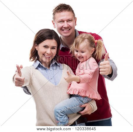 parents with little daughter portrait with thumbs up isolated on white background