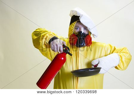 Kitchen Disaster, Hazmat Suit And Fire Extinguisher