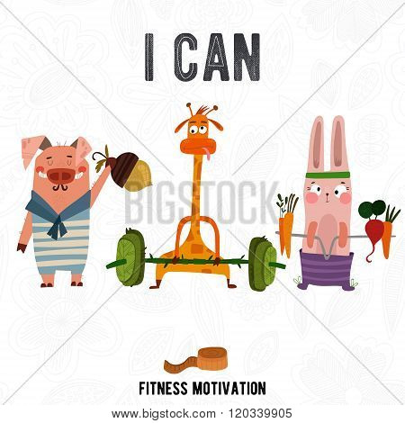 Greeting Card With Cute Pig,rabbit And Giraffe. Summer Is Coming -fitness Motivation. Good For Sport
