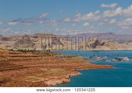 Overlook of Lake Powell with Boats and Canyons in Background