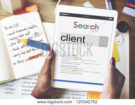 Client Customer Service Buyer Concept