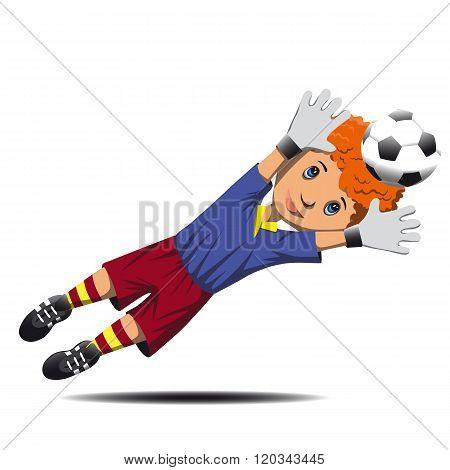 Boy goalie catching soccer ball