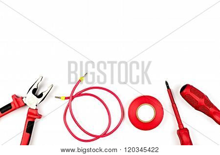 Red Tools Collection - Electrical Cable, Pliers, Insulating Tape, Screwdriver