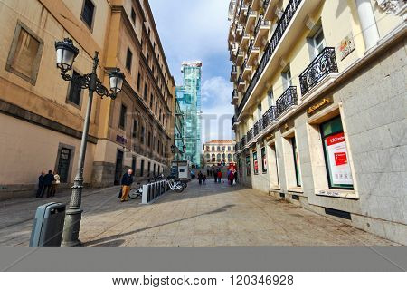 MADRID, SPAIN - OCTOBER 26, 2015 :The lane leading to the Reina Sofia Museum, dedicated to the exhibition of modern and contemporary art