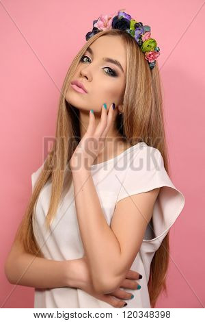 Young Girl With Long Blond Hair With Elegant Flower's Headband