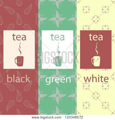 Vector set of design elements and icons in trendy linear style for tea package - white,black and gre