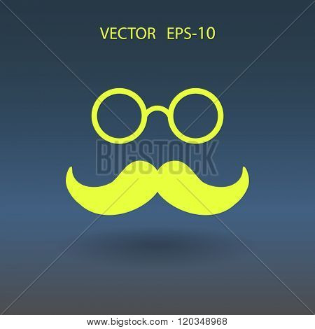 Flat Hipster retro style mustache and eyeglasses icon, vector illustration