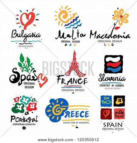 Europe logo. Logo for travel agencies. Travel, holidays in Europe, icon, symbol