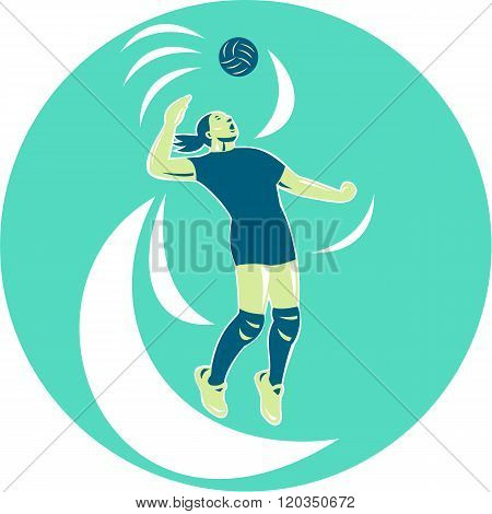 Volleyball Player Spiking High Circle Retro