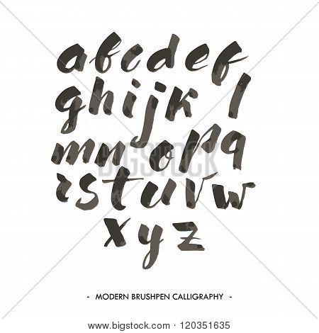 Modern ink Alphabet font.