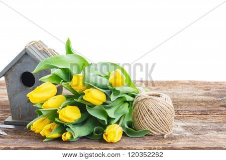 Yellow tulips  with birdcage