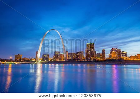 St. Louis downtown at twilight in USA