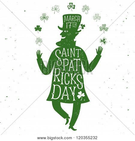 Cartoon Leprechaun Silhouette With Lettering