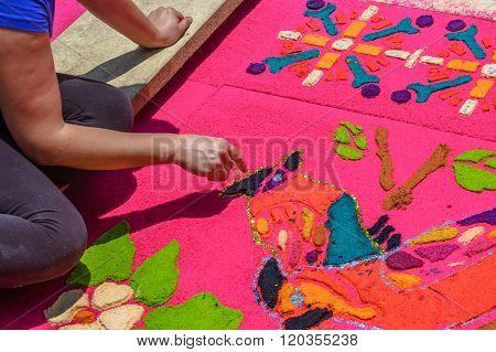 Decorating Holy Week Carpet, Antigua, Guatemala