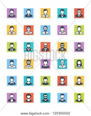 Men Avatars Icons - Square Version