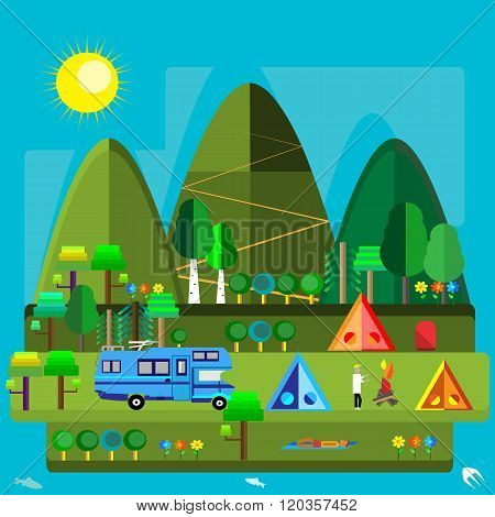 vector illustration of a variety of summery activities flat graphic