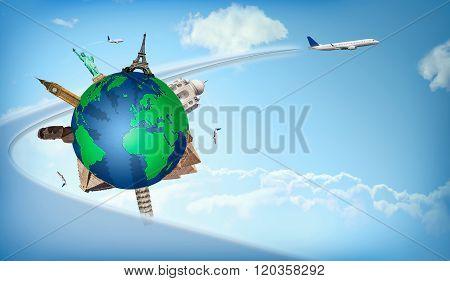 Travel Around The World Concept Airplane Illustration