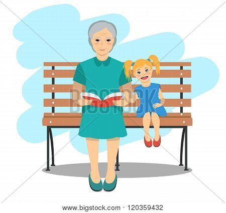 Illustration Of Grandma With Granddaughter