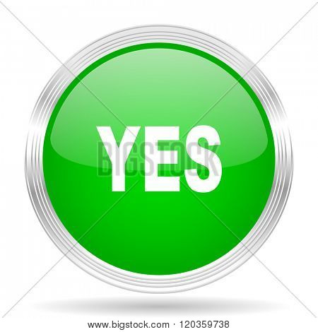 yes green modern design web glossy icon