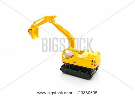 Yellow Backhoe On White
