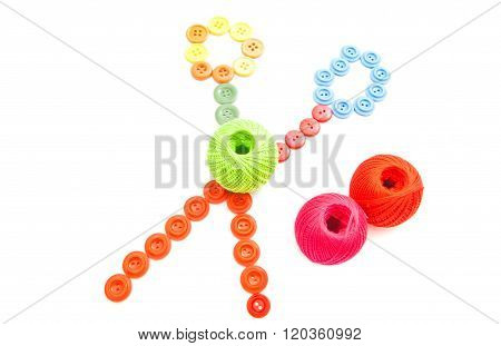 Balls Of Thread And Colored Buttons