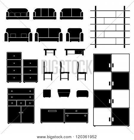 Furniture Set Black Illustration