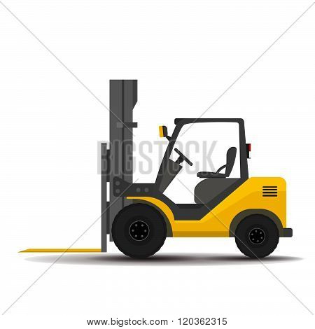 Bare detailed forklift, loader on a white background. flat illustration.