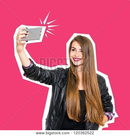 Millennial Teenage Girl Smiling Taking A Selfie On Smartphone