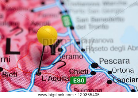 L Aquila pinned on a map of Italy