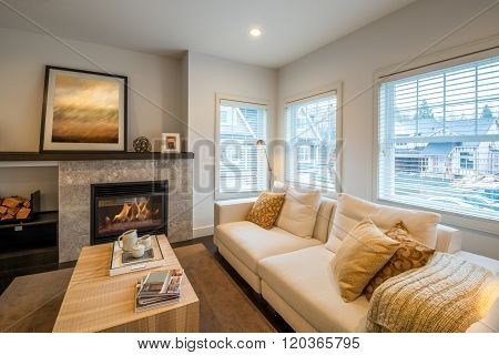 Luxury bright living room with a fireplace. Interior design.