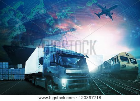 World Trading With Industries Truck,trains,ship And Air Cargo Freight Logistic Background Use For Al