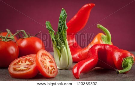 Tomatoes, Sweet Chilli, Bok Choi
