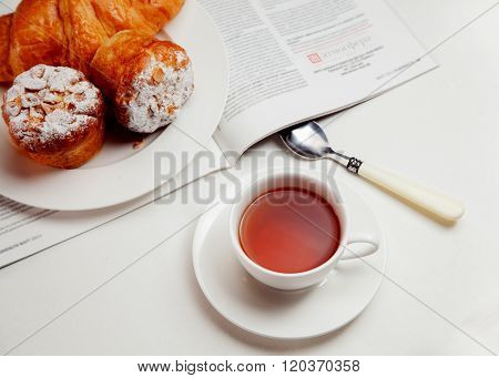 continental breakfast with bakery and tea, meal