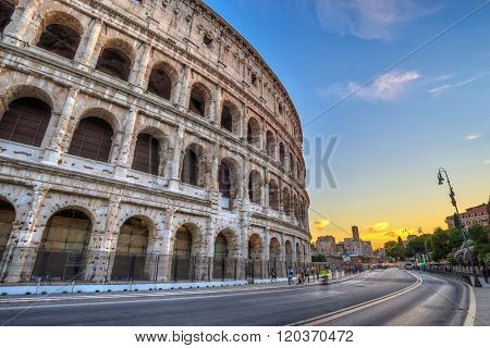 Sunset At Colosseum , Rome , Italy