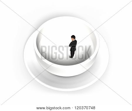 Businessman Standing In Empty Soup Bowl