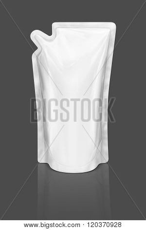 Blank Packaging Refill Pouch Isolated On Gray Background