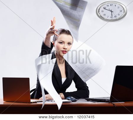 Businesswoman With Two Laptops