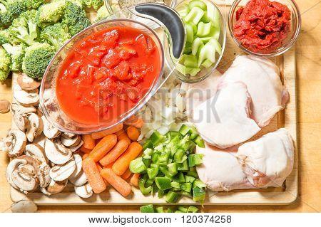 Chicken Cacciatore Raw Ingredients