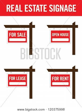 A collection of real estate lawn signage